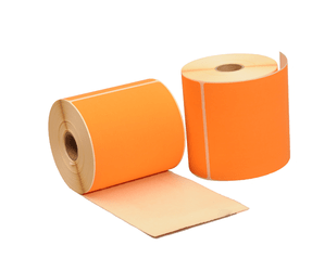 Thermische Versandetiketten, 102mm x 150mm, 280 Etiketten, 25mm Hülse, orange, permanent